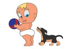 Weinig baby met bal en hond Royalty-vrije Stock Fotografie