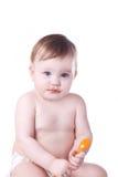 Weinig baby met een lepel Stock Fotografie