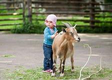 Weinig baby met jong geitje in dorp Royalty-vrije Stock Foto's