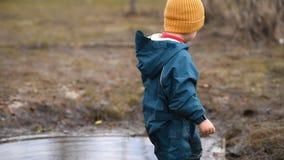 Weinig baby in overallspelen in een vulklei en trekt bladeren en stokken terug stock footage