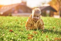 Weinig babyjongen die onder de gevallen bladeren op het groene gazon kruipen bij zonnige dag stock afbeelding