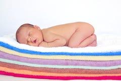 Weinig babyjongen, het slapen Royalty-vrije Stock Foto's