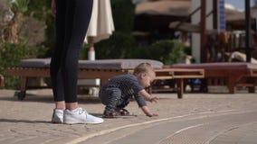 Weinig babyjongen op alle fours die aan de kant in langzame motie kruipen stock video