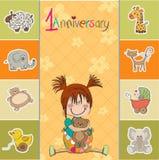 Weinig babymeisje op de eerste verjaardag vector illustratie
