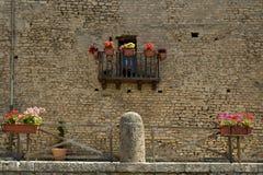 Weinig balkon met bloemen Stock Foto's