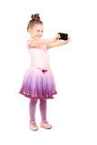 Weinig ballerina die een selfie nemen Stock Foto's