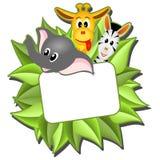 Weinig beeldverhaalolifant, giraf en zebra Stock Afbeelding