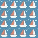 Weinig Boot Naadloos Patroon Uiterst kleine Boot op Blauwe Achtergrond Royalty-vrije Stock Foto