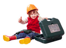 Weinig bouwer in bouwvakker met hulpmiddel Stock Foto's