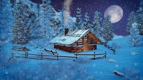 Weinig cabine in bergen bij sneeuwvalnacht Stock Afbeeldingen
