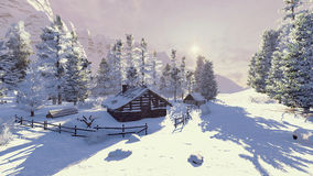 Weinig cabine in sneeuwbergen bij dageraad Stock Foto's