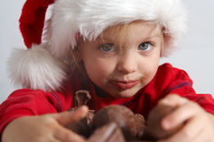 Weinig chocoladeKerstman Royalty-vrije Stock Foto's