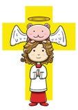Weinig christelijke akoliet met engelachtig schepsel stock illustratie