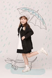 Weinig dame met paraplu Royalty-vrije Stock Afbeelding