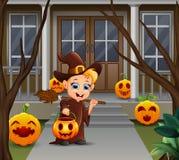 Weinig de pompoenmand die van de heksenholding zich voor het huis bevinden vector illustratie