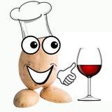Weinig de wijn van de aardappelmens het proeven Stock Foto