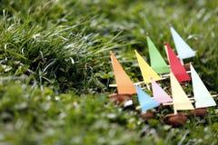 Weinig decoratief schip van noten op water en gras stock foto