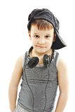 Weinig deejay grappige glimlachende jongen met hoofdtelefoons Stock Foto