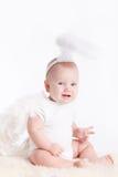 Weinig die jongen met engelenvleugels, op witte achtergrond wordt geïsoleerd Stock Fotografie