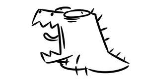 Weinig dinosaurus geeuwt Leuk weinig gebrul van Dino stock footage