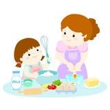 Weinig dochter het koken met haar moeder Stock Illustratie