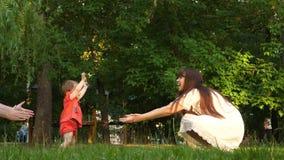 Weinig dochter treft eerste maatregelen om lachend mamma op gazongras in park te ontmoeten Het mamma kust baby op wang en smill l stock video