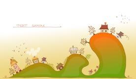 Weinig dorp op de heuvels Royalty-vrije Stock Afbeelding