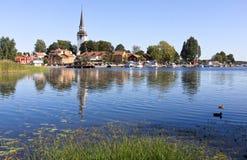 Weinig dorp in Zweden. Stock Foto's