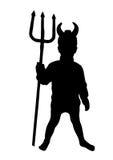 Weinig duivel met drietand (silhouet) Royalty-vrije Stock Fotografie