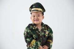 Weinig eenvormige militair van het jong geitjeberoep stock fotografie