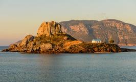 Weinig eiland Kastri dichtbij Kos-eiland Stock Foto