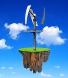 Weinig eiland met windturbine Stock Afbeeldingen