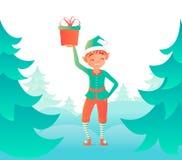 Weinig elf dat zich dichtbij de Kerstboom bevindt Vector ontwerpmalplaatje Royalty-vrije Stock Afbeelding