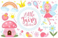 Weinig feereeks, beeldverhaalstijl Leuke en mystieke inzameling voor meisjes met fairytale bosprinses, toverstokje royalty-vrije illustratie
