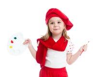 Weinig geïsoleerd kindmeisje in kunstenaarskostuum Royalty-vrije Stock Foto's