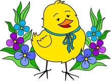 Weinig geel Pasen kuiken met bloemen Stock Afbeelding