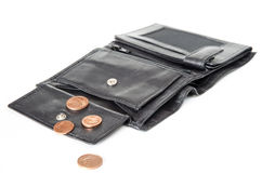 Weinig geld in portefeuille stock afbeeldingen