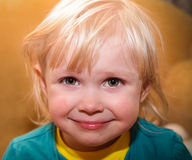 Weinig gelukkig jong geitje Stock Foto's