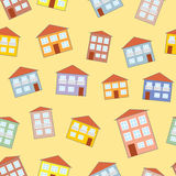 Weinig grappig huis naadloos patroon Stock Afbeelding