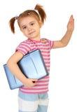 Weinig grappig meisje met laptop Stock Fotografie