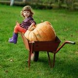 Weinig grappig meisje met pompoenen Stock Foto's