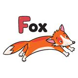 Weinig grappige het springen vos, voor ABC Alfabet F Royalty-vrije Stock Afbeeldingen