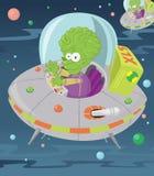 weinig groene mens in zijn UFO. Royalty-vrije Stock Foto's
