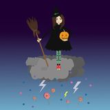 Weinig Halloween heks Stock Afbeelding
