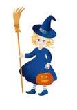 Weinig heks met een pompoen-lantaarn op Halloween Vector Illustratie