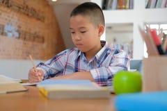 weinig het Aziatische de schooljongen van de jong geitjejongen het schrijven trekken op notitieboekje Chil stock fotografie