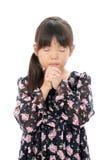 Weinig het Aziatische meisje bidden Stock Afbeeldingen