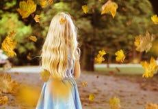 Weinig het blonde meisje stellen in een landschap van het de herfstpark royalty-vrije stock foto's