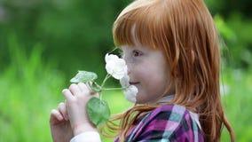Weinig het roodharige meisje snuiven tot bloei komende tak stock video
