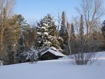 Weinig huis in de wintertijd royalty-vrije stock afbeelding